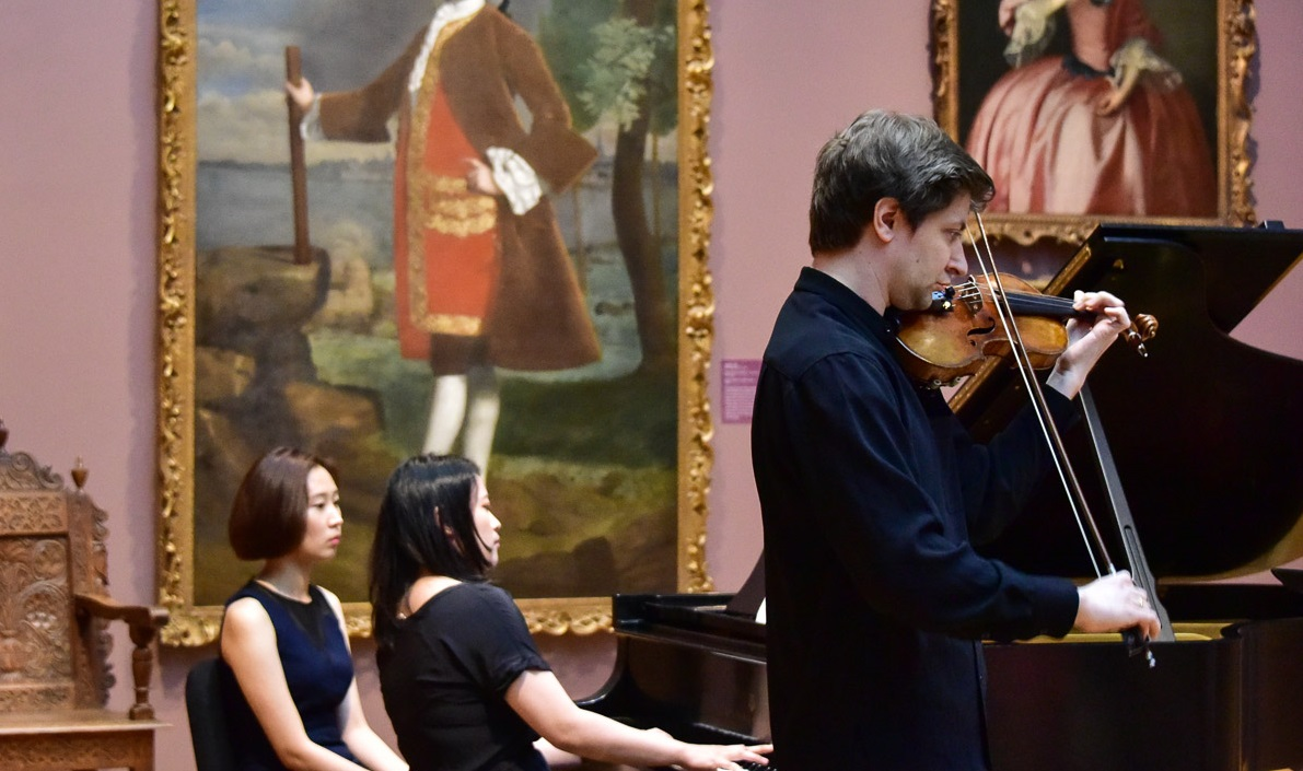 Classical musicians performing at Bowdoin College Museum of Art