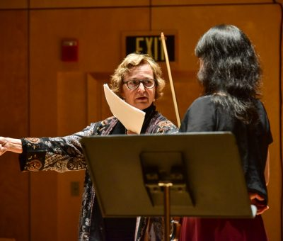 Almita Vamos instructing her violin masterclass at Bowdoin Music Festival