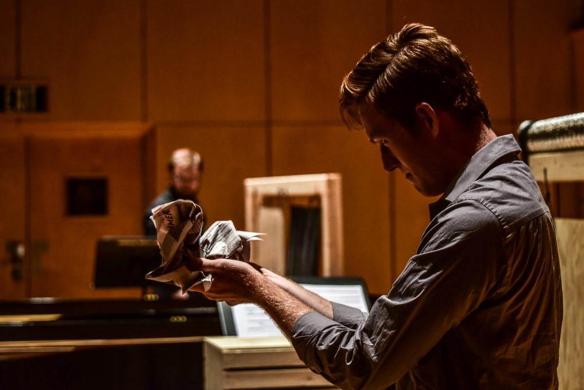 Beethoven Norman Schumann crumpling a piece of paper