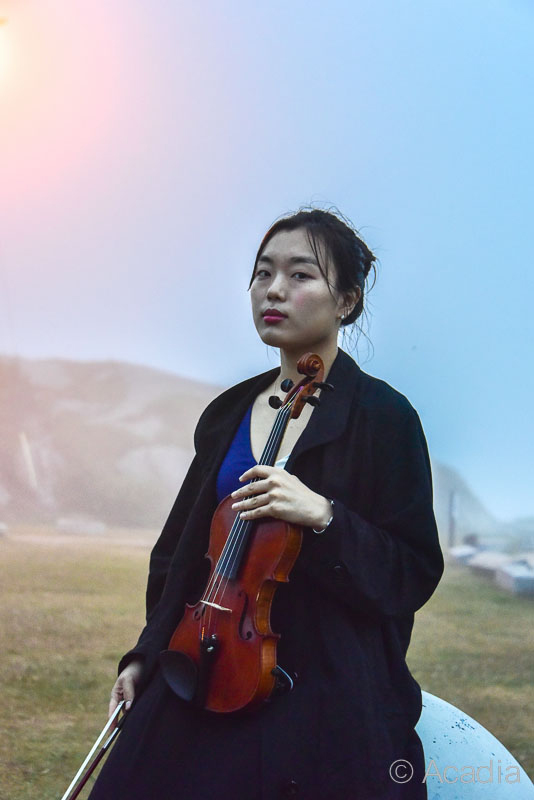 Female violin player with landscape backdrop