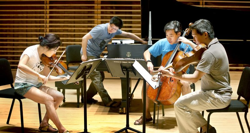 Artists rehearsing for the Gamper Festival of Contemporary Music