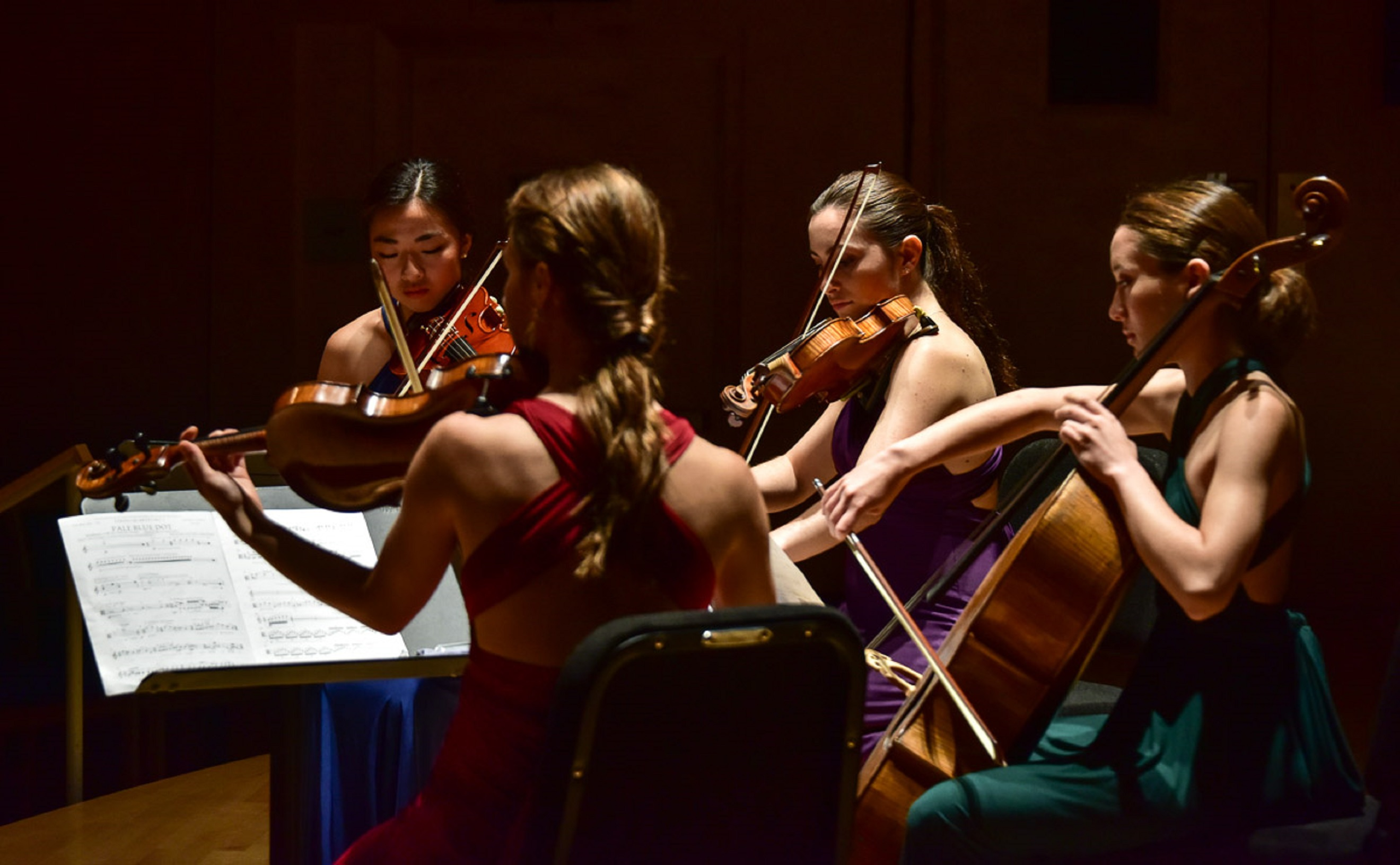 String quartet performing and reading music off sheets