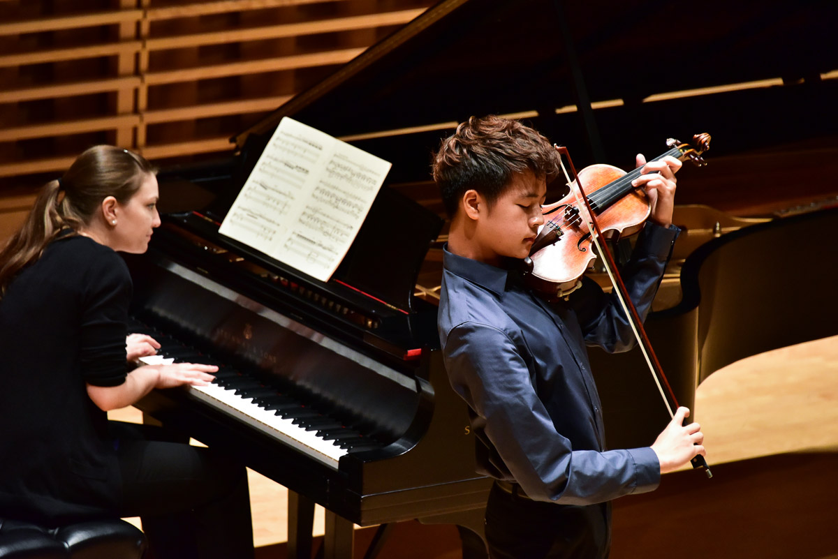 Young artists performing at an afternoon concert at Bowdoin Music Festival